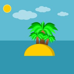 Palms on the island. Vector