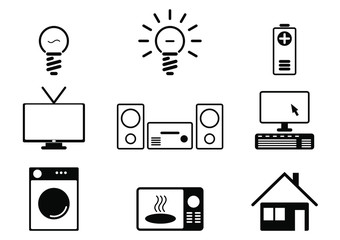 Household goods vector signs and energy consumption symbols. Icon of devices that draw electro energy.