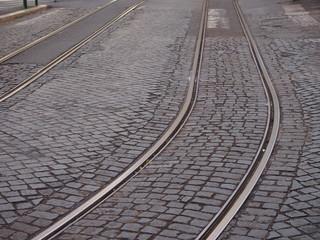 binari tram in centro storico