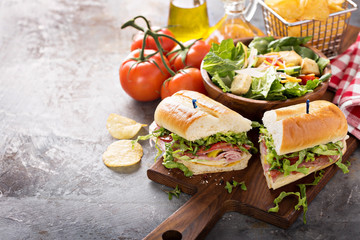 Photo on textile frame Snack Italian sub sandwich with chips