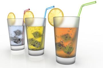 Illustrazione 3D. Bicchieri di bibite rinfrescanti per l'estate..