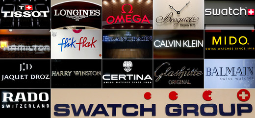 A combination of pictures shows logos of watch brands of Swiss Swatch Group at the Baselworld watch and jewellery fair in Basel