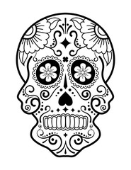 Black and white sugar skull