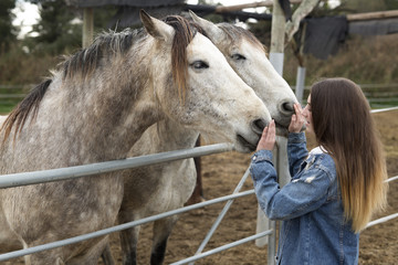 Young woman giving affection to some horses.