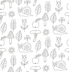 Line snails flowers and mushrooms seamless vector pattern