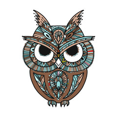 Ornate owl, zenart for your design