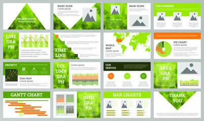 Business presentation design template. Green ecology theme slides. Polygonal geometric design.