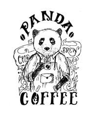 panda coffee hand drawn animal character illustration
