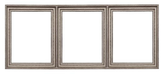 Triple silver frame (triptych) for paintings, mirrors or photos