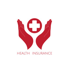 Health insurance icon logo vector graphic design. Hands and red cross.