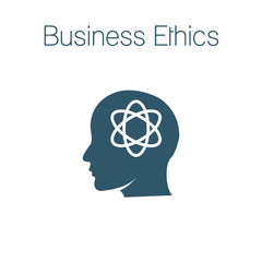 Business Ethics Solid Icon with head and thinking brain
