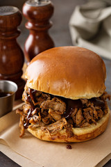 Pulled pork sandwich with bbq sauce