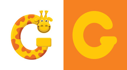 G is for Giraffe. Letter G. Giraffe, cute illustration. Animal alphabet.