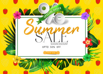 Summer sale banner with fruits background and exotic palm leaves, hibiscus flowers and Hello Summer handlettering.