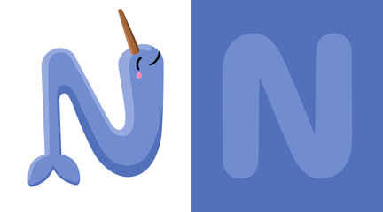 N is for Narwhal. Letter N. Narwhal., cute illustration. Animal alphabet.