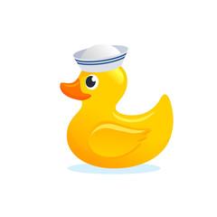 Yellow rubber duck sailor stock illustration.