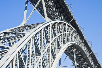 The old Oporto iron bridge over the Douro river (Portugal - Europe)