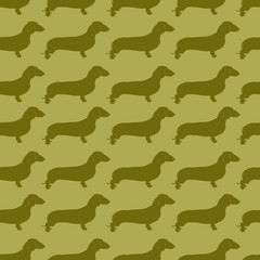 Vector pattern with repeating  picture of dachshund