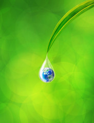 Earth in water drop reflection under green leaf, Element of this image furnished by NASA