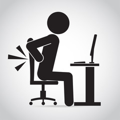 Man back pain icon. Office syndrome icon sign illustration