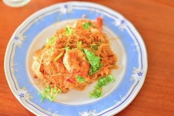 Plate of Rice Vermicelli Pad Thai, a Famous Thai Dish