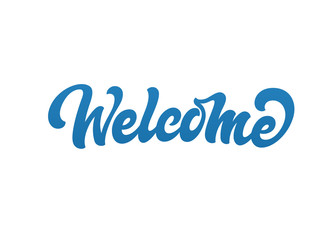 Welcome vector text logo. Handmade lettering in freehand style.