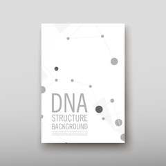 DNA abstract geometric background, layout in A4 set technology brochure flyer design template vector shadow