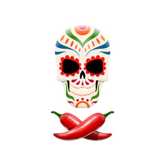 Vector illustration of decorated sugar skull and crossed chili peppers. Pirate symbols in mexican style.