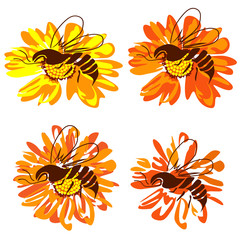 Bee on a flower, four images on a white background