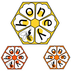 Logo label in the form of bee honeycombs