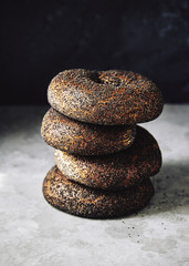 stack of poppy seed bagels