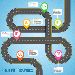 Infographics template with road map using pointers. Top view vector elements. Road trip. Business and journey infographic design template with flags. Winding road on a blue background