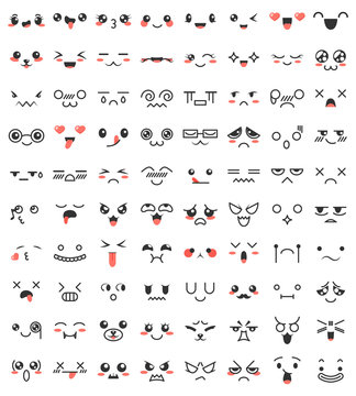 Collection of cute lovely kawaii eyes and mouths. Doodle cartoon faces in manga style. Cute emoticon emoji characters. Emotion smile cartoon