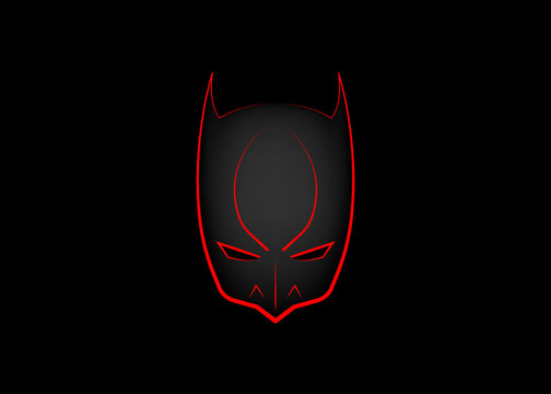 Vector Cartoon Hero Head, carnival devil mask, Isolated or black Background