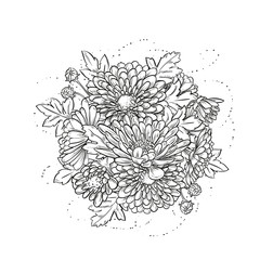 Abstract elegant template with chrysanthemum