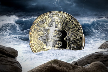 bitcoin crisis crypto coin currency finance market crash concept sinking in the ocean background