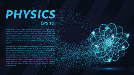 Physics of particles. Silhouette of an atom consists of small circles