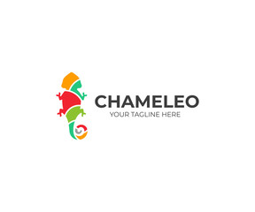 Chameleon logo template. Colored lizard vector design. Exotic animal logotype