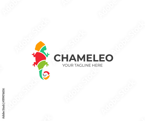 Chameleon Logo Template Colored Lizard Vector Design Exotic Animal
