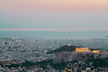 View of the Acropolis at night.