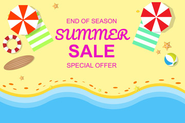 Summer sale banner of summer beach with vector illustration EPS10
