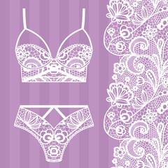 9676b3ced Hand drawn lingerie. Panty and bra set.