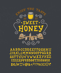 Font Honey. Handmade type. NAVY background. Isolated doodle vector letters and numbers. Serif alphabet. Modern display typeface. Drawn graphic design of Latin characters, digit, punctuation.