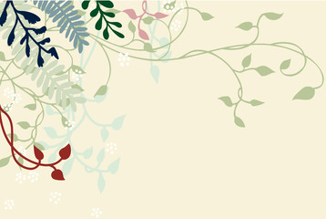 ivy vines ferns flowers and plants in pretty vector design, soft pastel shades of green blue and pink on light yellow or beige background