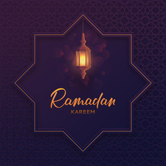 Islamic greeting card Ramadan Kareem. Beautiful festive background with lantern or fanoos in paper art style. Vector illustration with calligraphy lettering and Arabic geometric ornament.