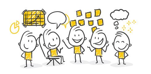 Strichfiguren / Strichmännchen: Startup, Meeting. (Nr. 204)