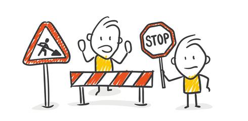 Strichfiguren / Strichmännchen: Baustelle, Stop. (Nr. 205)