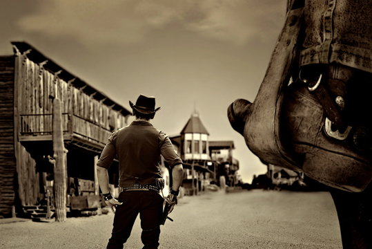 vintage cowboy in old wild west