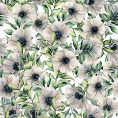 Watercolor seamless pattern with anemone and eucalyptus leaves. Hand painted floral illustration with white flowers and leaves isolated on white background. For design, print, fabric or background.