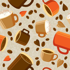 Cups of coffee or tea, coffee beans, hearts on a light background. Bright coffee background. seamless texture.